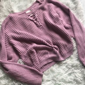 Ruby Moon Lavender Cropped Sweater Size L